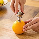 Exprimidor de fruta pequeño de acero inoxidable portátil y compacto es fácil de operar y duradero de color naranja y gris