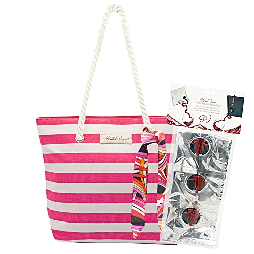 PortoVino Gift Bundles Canvas Pink & White - Beach Tote with Hidden, Insulated Compartment, Holds 2 bottles of Wine! / Great Gift! / Happiness Guaranteed!