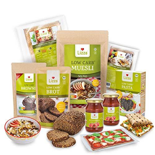 Lizza Low Carb Starter Box| Bis zu 94{04b103a15e2e21992e8e4a1981ff3ea1c0be0702353e085f6e21823c18608c85} weniger Kohlenhydrate | Keto-, Atkins- & Diabetikerfreundlich | Bio. Glutenfrei. Vegan. | Pizza, Toasties, Brot, Pasta, Brownie & Müsli (25 Portionen)
