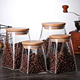 REGAL-HPQ Tarro del almacenaje del alimento, Tarro de Cristal café, Especias y más (4 Piezas)