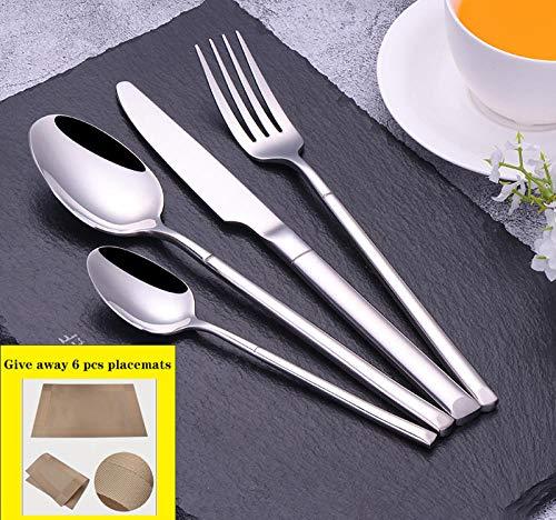 SZJY Besteckset 24-Teilig für 6 Personen, 304 Edelstahl Messer Gabel und Löffel Besteck Set Hochzeit/Party/Küche Geschirr