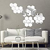 Hexagon Mirror Wall Sticker Tiles, 24 Pieces Removable Acrylic Mirror Setting Wall Sticker Non Glass Mirror Cute 3D Wall Stickers for Home Living Room Bedroom Decor (4.96 x 4.33 x 2.56 Inches Silver)