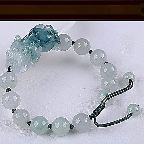 Gymqian Feng Shui Pulsera para Mujer Pulsera de Riqueza Natural Jade Pixiu Pulsera Retro Gifts Gifts Style Atraer el Regalo Lucky Trae Suerte Prosperidad Desgaste diario