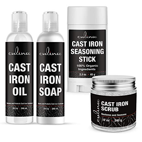 Culina Cast Iron Seasoning Stick & Soap & Oil Conditioner & Restoring Scrub | All Natural Ingredients | Best for Cleaning, Non-stick Cooking & Restoring | for Cast Iron Cookware, Skillets, Pans