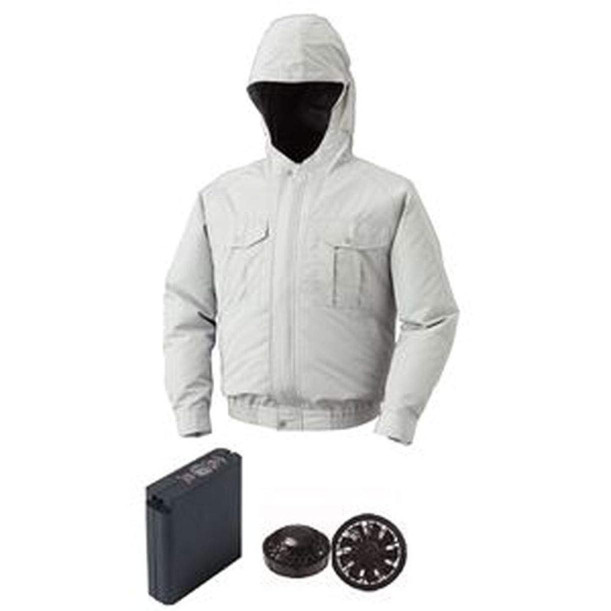 地域の検索富豪空調服/フード付屋外作業用空調服/大容量バッテリーセット/ファンカラー:ブラック / 0800B22C06S5 / - カラー:シルバー/サイズ:XL / -