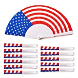 BULK FOLDING FANS: Set includes 12 folding fans featuring the stars and stripes print to keep you cool while you show your patriotic spirit. MATERIALS: Vibrant print nylon fabric mounted on white colored plastic ribs. COMPACT AND LIGHTWEIGHT: Compact...