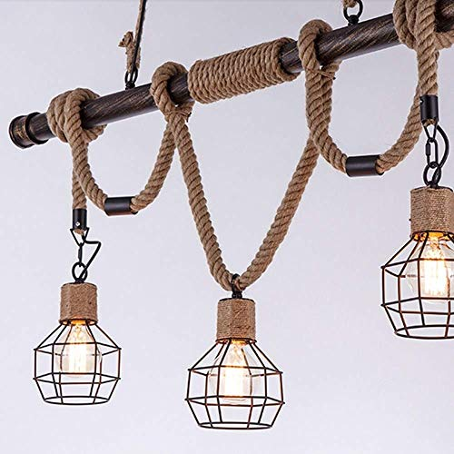Iluminación de Cocina para el hogar Colgante Lámpara de araña, manguera de bambú de arte de hierro de viento industrial Lámpara de araña de retro estadounidense Tienda de ropa creativa restaurante ara