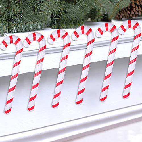 Wayfun Bastón de Caramelo Inflable de Navidad para Decoraciones navideñas, Juego de 6, Adornos navideños, Decoraciones navideñas al Aire Libre