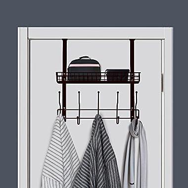 NEX Over-The-Door Hook Shelf Organizer 5 Hooks With Basket Storage Rack, Fit Well At Home & Office, Dark Brown
