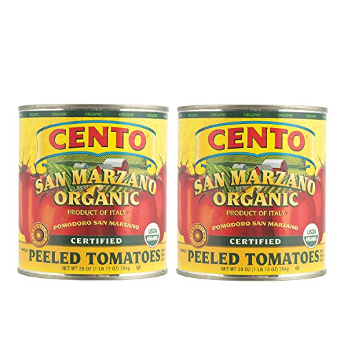 Cento Certified Peeled Tomatoes - San Marzano Organic Peeled Tomatoes - 28 Ounce - Pack of 2