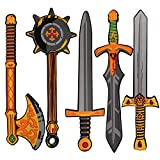 Digabi Foam Swords for Kids Boys Play Weapons Warrior Weapons Role Play Costume Accessories Including Hammer Golden Axe Samurai Swords 5 PCS