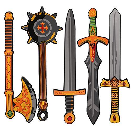 Digabi Foam Swords for Kids Boys - Foam Weapons Playset, Warrior Weapons Role Play Costume Accessories Including Hammer Golden Axe Samurai Swords 5 PCS, Toy Foam Pretend Play Medieval Set