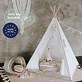 Tipi Dreamin® Tienda de campaña para niños con alfombrilla, bolsa de transporte, perfecta para la habitación de los niños, interior y exterior, tienda de campaña india tipi de algodón, color blanco
