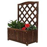 ZJS Wood Planter Raised Beds with Trellis, Garden Rectangular Wooden Planter with Lattice for Vines Garden Climbing Flower Plant Pot Box Garden Patio Wood Trellis Panel