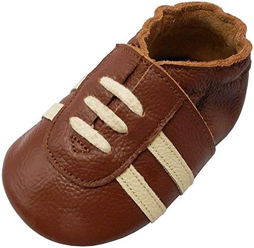 YIHAKIDS Weicher Leder Lauflernschuhe Krabbelschuhe Babyhausschuhe Turnschuh Sneakers mit Wildledersohlen(Braun,0-6 Monate,19/20 EU)