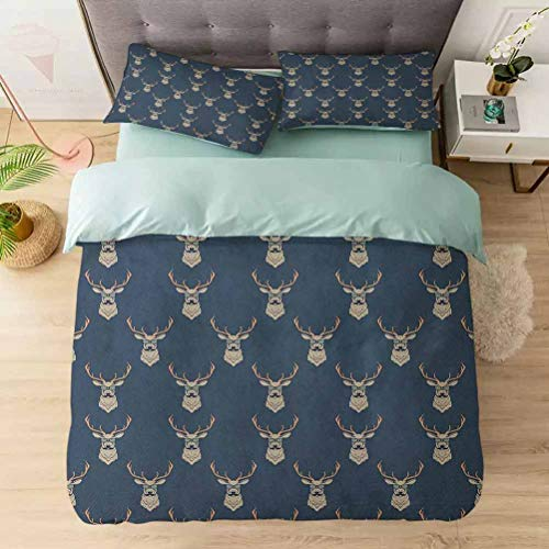 100% Washed Microfiber 3pcs Bedding Set, Hipster Inspired Deer with Antlers Glasses Mustaches Funny Animal Patter, Soft and Breathable with Zipper Closure & Corner Ties, Slate Blue Tan