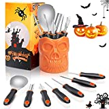 X99 Halloween Kürbis Schnitzset, 7 Stück Edelstahl Kürbis Schnitzwerkzeuge Schnitz-Werkzeug mit Aufbewahrungseimer Verpackt DIY Halloween Dekoration...
