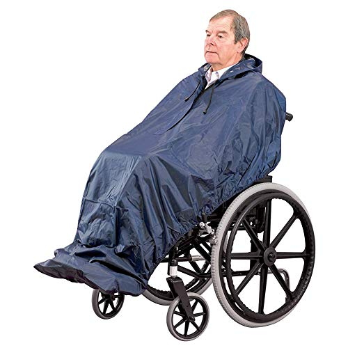 Packable Wheelchair Rain Cover Poncho Over Backpack Raincoat with Hood & Reflective Band Lightweight Capes Portable Umbrella Clip Wheelchair Accessory Gift One Size for Men & Women