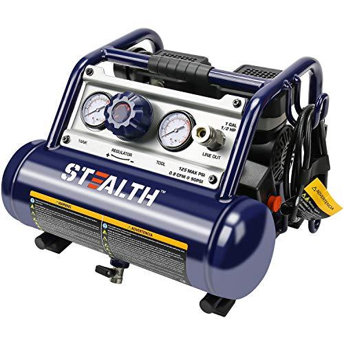Stealth Air Compressor, Ultra Quiet Air Compressor 1 Gallon ½ HP Max 125 PSI 0.8 CFM@90PSI Oil-Free Light Weight Portable Air Compressor Air Tools Easy for Carry, Model: SAUQ-1105