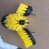 Taladro eléctrico cepillo eléctrico cepillo de limpieza de tres piezas de herramienta del hogar Set-SkyBlue, celeste (Color : Yellow)