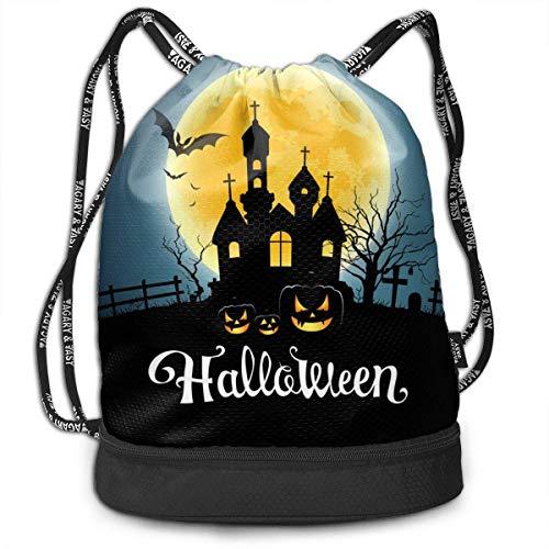 Rucksäcke,Sporttaschen,Turnbeutel,Daypacks, Happy Halloween Party House On Moon Vector Image Multifunctional Beam Drawstring Backpack Unisex Suitable for Outdoor Travel