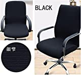 NEW Shihualine(TM) Office Slipcovers Cloth Chair Pads Removable Cover Stretch Cushion Resilient Fabric Black (Size L)