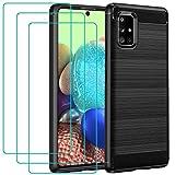 ivoler Funda para Samsung Galaxy A71 5G + 3 Unidades Cristal Templado, Fibra de Carbono Negro TPU Suave de Silicona [Carcasa + Vidrio Templado] Ultra Fina Caso y Protector de Pantalla