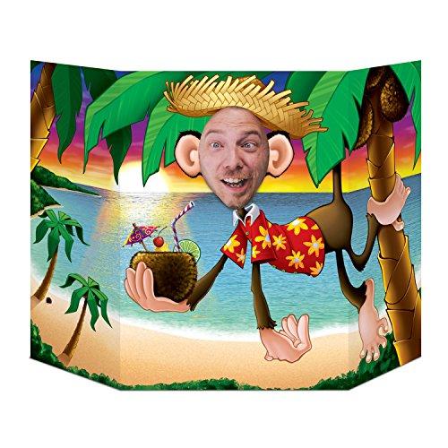 Beistle 57970 Luau Monkey Photo Prop Hintergrund:, Mehrfarbig, one Size