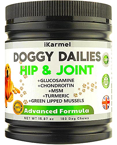 iKARMEL | Dog Joint Supplements | Dog Pain Relief Anti Inflammatory | Hip & Joint Care Chews | Advanced Arthritis Treatment |180 Canine Organic Treats | Pro Senior & Young