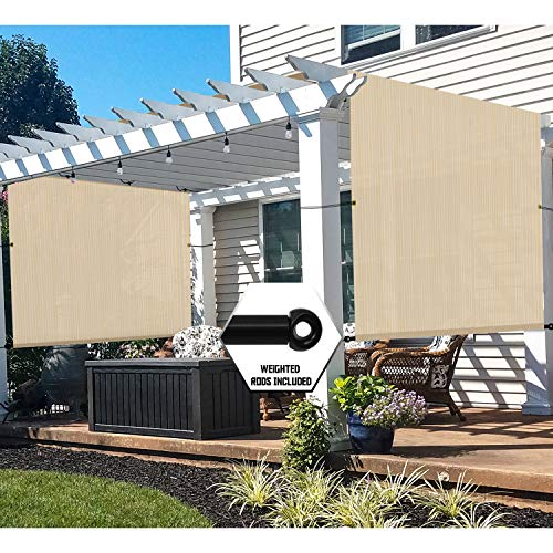 TANG 8'x16' Beige Outdoor Sun Shade Panel Universal Pergola Replacement Cover Canopy with Grommets Weight Rods Sun Block Cover for Patio Backyard