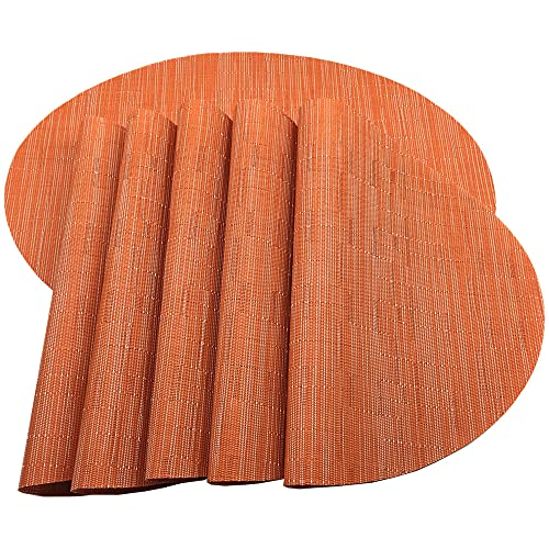 Placemats,Red-A Imitation Bamboo Oval Woven Vinyl Heat Resistant Placemats Washable Table Mats for Kitchen Table Set of 6,Orange