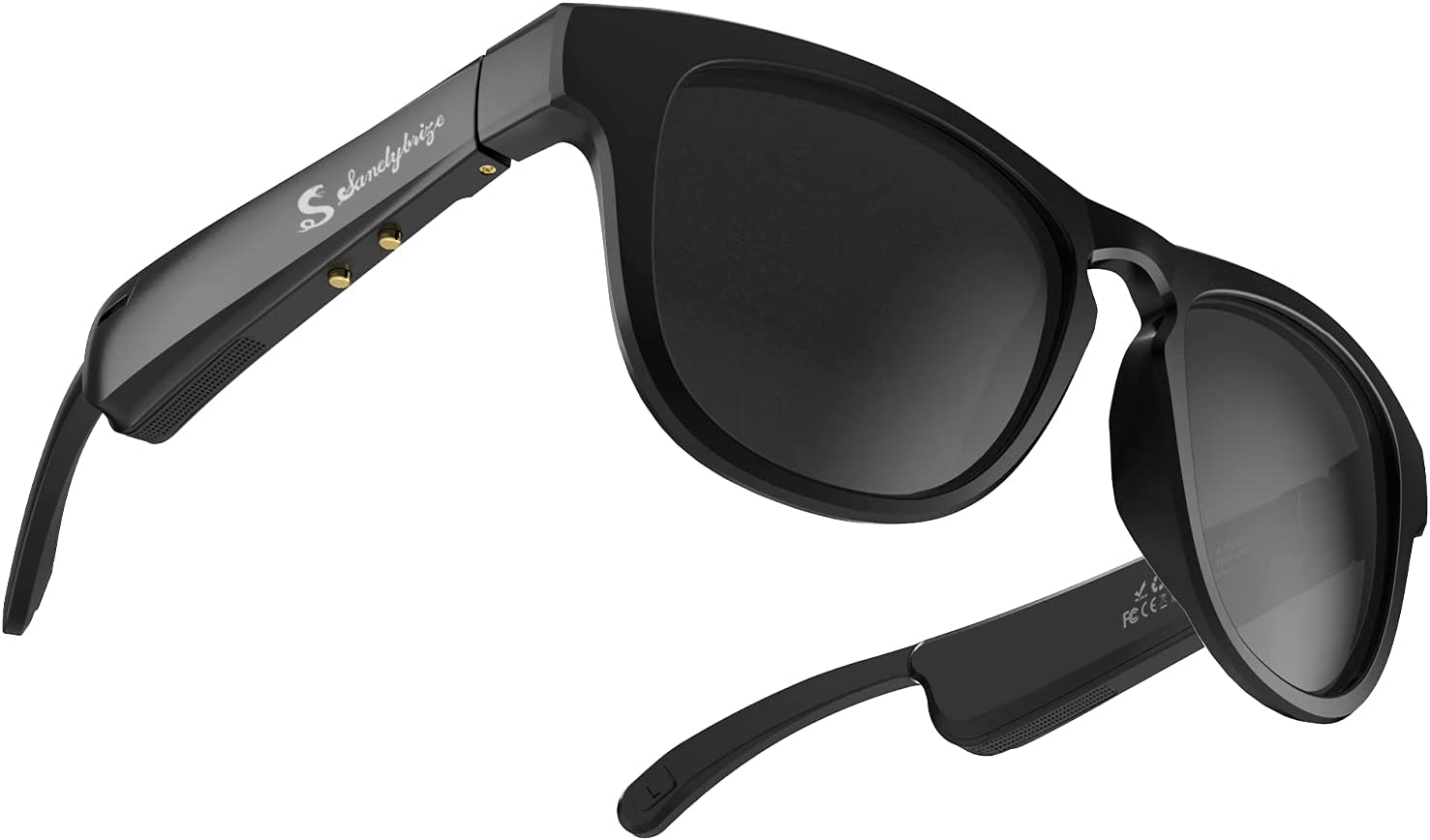 Smart Glasses with Open Ear Headphones S SANELYBRIZE SY717 Audio Sunglasses Bluetooth 5.0 (Black Frame with Black Grey Lens)