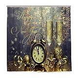 Wamika Duschvorhang, Motiv Silvester Champagner, Heimdeko, Toast Bell Feuerwerk Design, langlebiger Stoff, schimmelresistent, wasserdicht, Badewannen-Vorhang mit 12 Haken, 183,0 cm x 183,0 cm