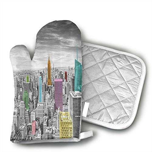 NYC New York City Skyline Oven Gloves and Insulation mats, Kitchen Gloves 1 Oven Gloves, Cooking, Baking, Grilling, Grilling Pot Rack