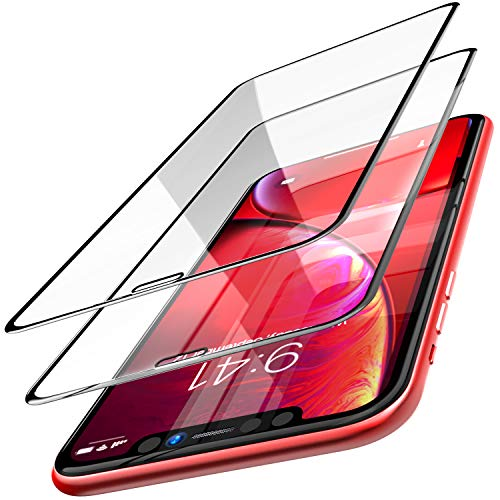 TOZO for iPhone XR / iPhone11 Screen Protector [ 3D Bent Full Frame ] Premium Tempered Glass (2 Pack) 9H Hardness for iPhone 11 (2019) / XR 6.1 inch (2018) with [Easy Installation Tool]