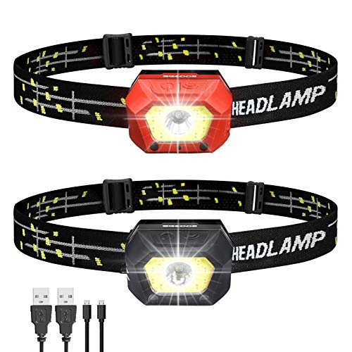 SGODDE Rechargeable LED Headlamp Flashlights 1000 Lumens Super Bright Motion Sensor Head Lamp with Warm Light Waterproof USB Rechargeable Headlamps for Outdoors Running Camping Hiking 2Pack