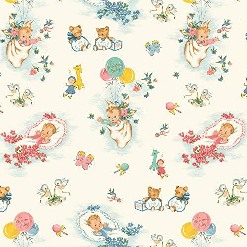 Washington Street Studio Tissu pour chambre d'enfant 100 % coton 50 cm x 110 cm WSS01 Welcome Baby