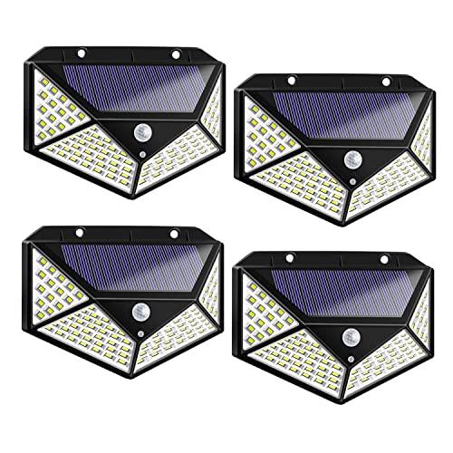 4 lampade solari a LED con sensore di movimento, regolazione a 3 modalità, 7 W, in plastica, 100 LED, impermeabili, a risparmio energetico, protezione ambientale