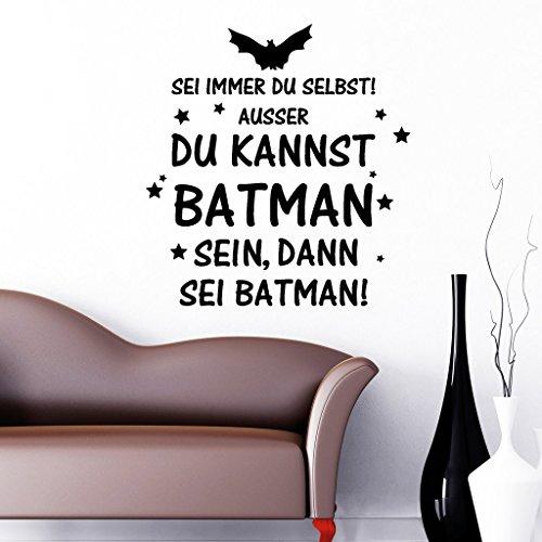 Wandtattoo-Loft Wandaufkleber Sei Immer du selbst! Außer du Kannst Batman Sein, dann sei Batman! Schriftzug/Wandsticker/Aufkleber/Spruch / 54 Farben / 3 Größen/transparent / 35 cm Breite x 37 cm Höhe