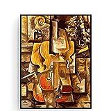 HJKLP Lienzo De Fama Mundial Kits De Pintura Al óLeo por NúMeros para Adultos ViolíN Y Uvas De Pablo Picasso Cuadros De Pinturas 50x70cm Sin Marco
