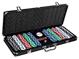 FiNeWaY Professional 500PCS Casino Poker Chip Set Comes In a Aluminium Case And Authentic 11.5 Gram Wager Chips – Includes: Dice, Dealer & Blind Buttons, 2 Deck Cards 500 Piece Set (Black)