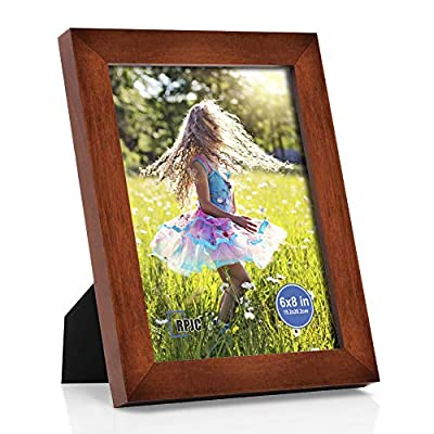 RPJC 6x8 inch Picture Frame Made of Solid Wood and High Definition Glass Display Pictures for Table Top Display and Wall Mounting Photo Frame Brown