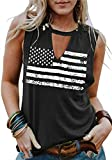 Umsuhu 4th of July Tank Tops Shirts for Women American US Flag Graphic Patriotic Tank Tops Shirts (Large, Dark Grey-A)