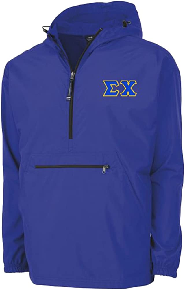 Sigma Chi Tackle Twill Lettered Pack N Go Pullover