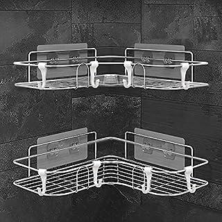 Danpix 浴室用ラック2個セット 収納ラック シャワーラック 304ステンレス鋼 取り外し可能なフック付き壁に穴を開けない コーナーラック 強力粘着固定 負荷15kg (シルバー)