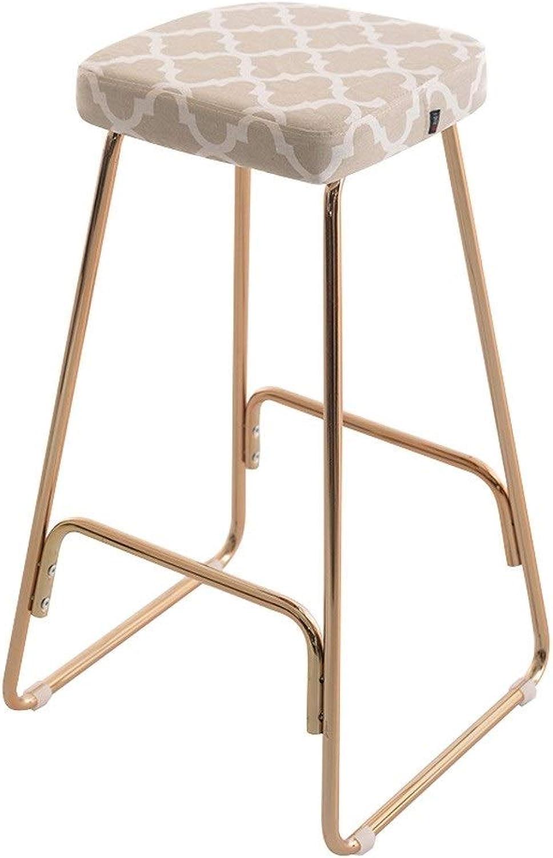 MILU Modern Minimalist Bar Chair, Fabric High Chair, Bar Chair, Bar Stool and Makeup Chair, Wrought Iron (color   B)