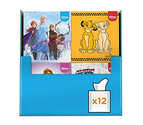 Kleenex Disney Taschentücher-Boxen, König der Löwen, Marvel, Princess und Frozen Mix, 3-lagig, 12 Würfel-Boxen à 56 Tücher