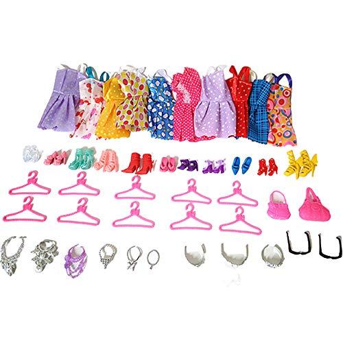 43 piezas de ropa de fiesta trajes de muñeca accesorios para zapatos de vestir, bolsos, collar de corona, gafas para niñas y niños, regalos de cumpleaños