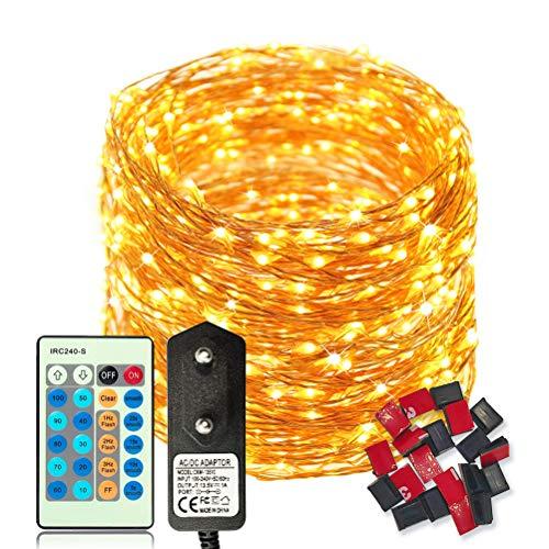 50m 500 LED Luces de Hadas Blanco Cálido con control remoto, Guirnalda de Luces Exteriores Impermeable, LED luces decorativas Alambre de Cobre, Decorar de Fiestas, Navidad, Balcón, Jardín etc.