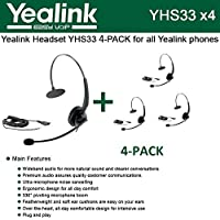 Yealink [4個パック] YHS33 ヘッドセット 改良型ノイズキャンセリング付き (YHS33-4)